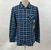 Lost Men's LS Woven Button Down Distortion Flannel Black/Blue Plaid Size M NWT