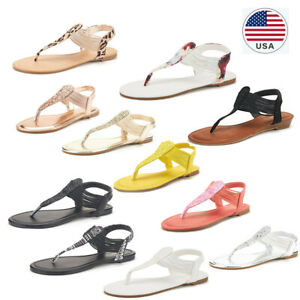 Women's Elastic Flat Sandals Strappy String Thong Ankle Strap Summer Gladiator