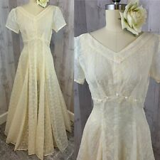 1940s Antique Wedding Gown-Ivory Sheer Vintage Flocked Floral Pinup Small