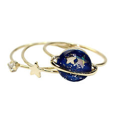 3pcs Women Gold Plated Star Universe Crystal Ring Set Elegant Finger Rings Set