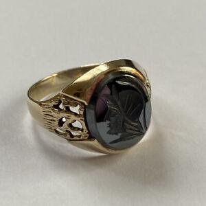 Hematite Intaglio Ring Mens Solid 9 Carat Yellow Gold 5.2g Gents Centurion 1988
