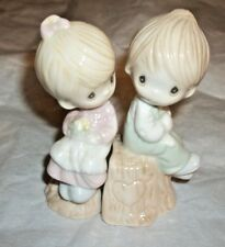 Sweet Precious Moments Salt Pepper Shakers Love One Another Girl Boy Tree Stump