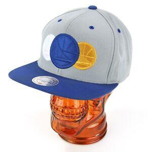 Mitchell & Ness NBA Golden State Warriors Snapback Hat Gray Blue Triple Logo