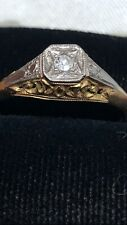 VINTAGE ART DECO 18ct GOLD AND DIAMOND RING