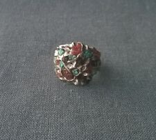 Vintage Navajo solid 925 sterling silver Turquoise & Coral ring old pawn size S
