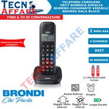 Telefono Fisso Cordless Dect Display Sveglia Brondi Gala Nero