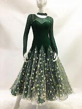 Ballroom Standard Practice Dance Dress Black Green Exercise Floral Tango Gown 10