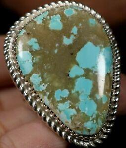 HUGE! Natural Turquoise Navajo Handmade Sterling Silver MENS Ring 10