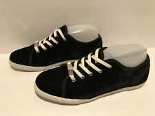 Juicy Couture Velvet Sneakers Lace Up Fabric Black White 8 M