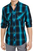 INC Mens Leo Shirt Aqua Lake Blue Size 2XL Button Down Plaid Flannel $65 239