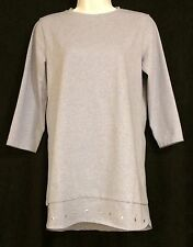 Denim & Co Perfect Jersey 3/4 Sleeve Top w/Stud Detail Blue XXS