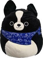 Squishmallow Tommy the Black Dog 8 Inch Plush Kellytoy NWT Blue Bandana
