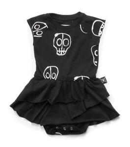 NUNUNU SIZE 18-24M BLACK & GREY SKULL MASK DRESSES 2-PEICE SET 100% COTTON