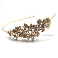 Bridal Vintage Crystal & Pearl Flower Leaf Vine Gold Side Headband Tiara TH23