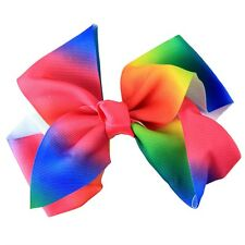 "8"" MULTI RAINBOW LARGE BOW BOUTIQUE HAIR CLIP PIN ALLIGATOR GROSGRAIN RIBBON"