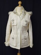 River Island Womens Size 10 Cream Cotton Lightweight Buckle Jacket Faux Fur Hood