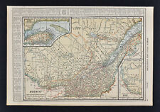 1917 Poates Map - Quebec - Montreal Ottawa Richmond St. Lawrence River - Canada