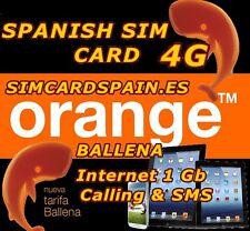 ORANGE BALLENA SPANISH PAYG PREPAID 4G LTE SIM CARD INTERNET DATA SPAIN