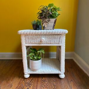 White Rattan Wicker Cane Single Drawer Side End Table Nightstand Cottage