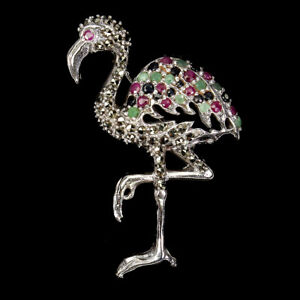 Round Ruby Emerald Sapphire Marcasite 925 Sterling Silver Flamingo Brooch