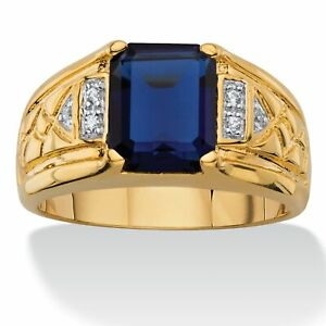 Men's Created Blue Sapphire 18k Gold-Plated Ring