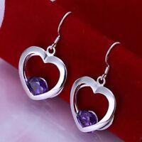 ASAMO Damen Herz Ohrhänger mit lila Stein Ohrringe Silber plattiert O1199