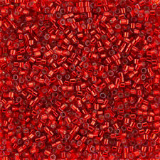 Miyuki Delica Seed Beads Size 10/0 Silver Lined Dyed Red 7.2g (K11/1)