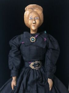 """Unidentified Antique (?) OOAK (?) Hand Carved Hand painted Wooden Doll 24"""""""