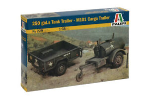 Italeri 229 1/35 Military Model Kit 250 gal.s Tank Trailer & M101 Cargo Trailer