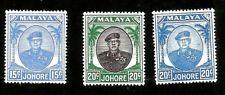 1949 Malaya Johore Sultan Ibrahim 15c 20c & 20c Different Color Mint Scott 140/2
