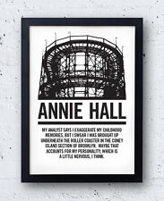 Annie Hall Film Poster, Woody Allen opening,monologue, quote, Diane Keaton