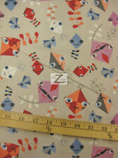 "KITE HANDLE WITH CARE GRAY BY ROBERT KAUFMAN 100% COTTON FABRIC 45"" WIDTH FH-665"