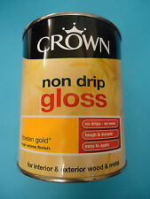 Crown Non Drip Gloss Paint - 750ml - For Wood And Metal  - Tibetan Gold