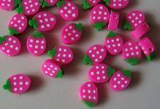 25 Fimo Beads. trozos de fruta de 10 mm rosa Fresas