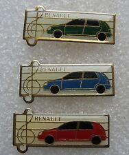 3 Pin's RENAULT voiture rouge bleu verte clé de sol #854