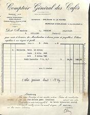 LE HAVRE ORLEANS COMPTOIR DES CAFES FACTURE EPICERIE FOUBERT COULLONS 1932