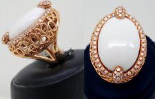 anello in ORO ROSA, BRILLANTI e AGATA BIANCA