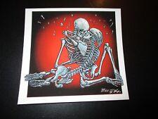 """EMEK Handbill Print KISS SKELETONS Signed 5.5X5"""" like poster art"""