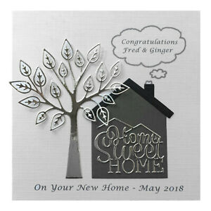 Handmade PERSONALISED New Home House Warming Card Silver
