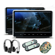 """2 x 11.6"""" Headrest Active Monitor Car Stereo DVD Player 1080P Game 2 Headphones"""