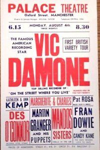 Vic Damone & Des O'Connor Concert Flyer Original 1958  EXC.