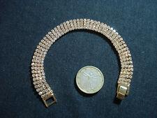 bracciale tennis dorato strass moda swaroski cristallo bianco 4 fili bigiotteria