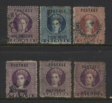 Grenada Collection 6 Early QV Ovprt / Surch Stamps Used