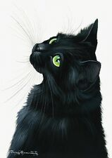 Cat Greeting Card Emerald Eyes from Art by Irina Garmashova