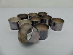 (ref288CJ) Set of 10 Vintage Silver Plated Napkin Rings Needs Polishing