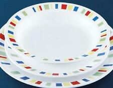 Corelle MEMPHIS 15-oz Flat RIMMED SOUP BOWL *Red Blue Green Yellow Stripes NEW