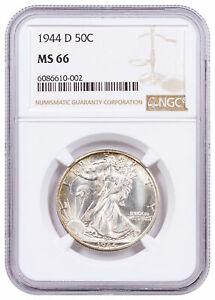 1944 D Silver Walking Liberty Half Dollar 50C NGC MS66 Brown Label