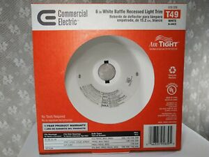 Commercial Electric Air Tight 6in White Baffle Recessed Light Trim T49 HBR635WHA