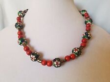 Vintage Chinese Green Cloisonne Flower bead Necklace