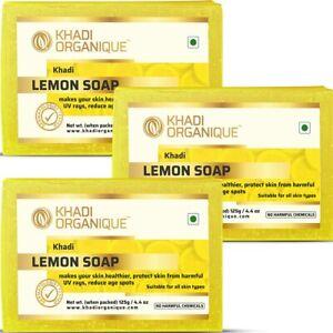 Khadi Organique Lemon Soap For skin and hair 125g (Pack of 3)